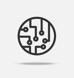 Circuit board icon thin line icon quantum vector