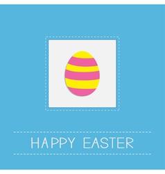 Colored Easter egg dash line frame Card Flat desig vector image