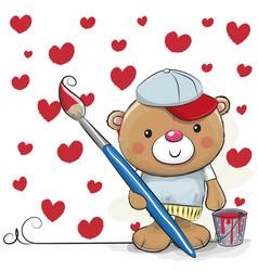 Cute cartoon artist teddy bear vector