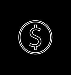 Dollar coin line icon finance and business vector