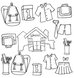 Doodle of school object bag tools vector