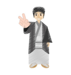 drawing japanese man wearing traditional dress vector image
