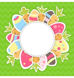 Easter carrots and eggs pattern on a green vector