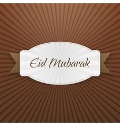 Eid mubarak festive tag with ribbon vector