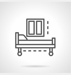 Empty hospital bed simple line icon vector