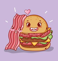 Fast food cute double burger and bacon cartoon vector