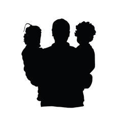 Father with children silhouette vector