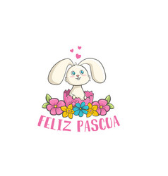 feliz pascua colorful flower lettering happy vector image