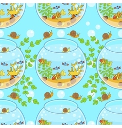 fishbowl pattern with fish snail and decorations vector image