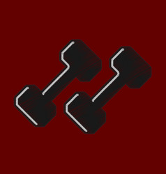 Flat shading style icon dumbbells vector