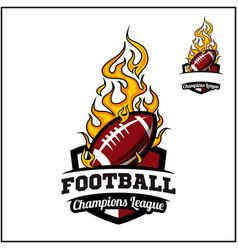 Football ball flame badge vector