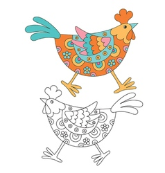 Funny cartoon hen vector image