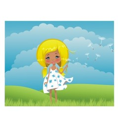 Girl on to the meadow vector image
