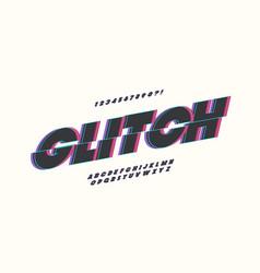 Glitch font bold style vector