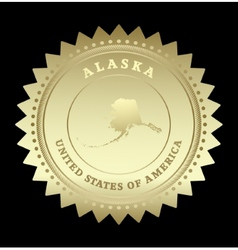 Gold star label Alaska vector