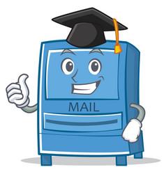 graduation mailbox character cartoon style vector image