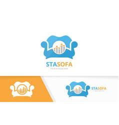 graph and sofa logo combination diagram vector image