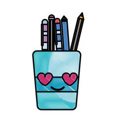 Grated tools cup in love kawaii cartoon vector