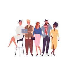 Group different smiling young employee vector