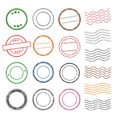 grunge ink rubber stamp shape icon set vector image