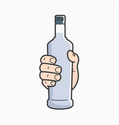 Hand hold vodka bottle male hand holding a vodka vector