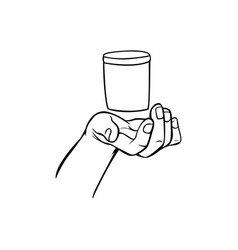 hand holding drink glass hand drawn vector image