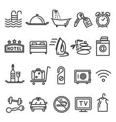hotel and service line icon set on white vector image