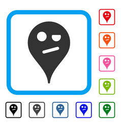 Infidelity smiley map marker framed icon vector