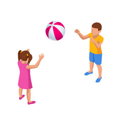 isometric children playing with a ball boy vector image