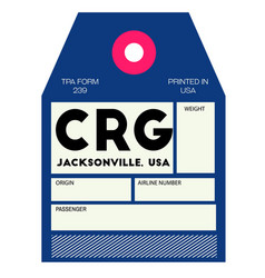 Jacksonville airport luggage tag vector