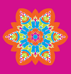 Kaleidoskop childish neon color mandala-star vector