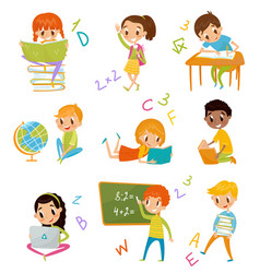 kids at school set cute boys and girls at lesson vector image