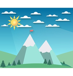 Landscape in a flat style with sun vector
