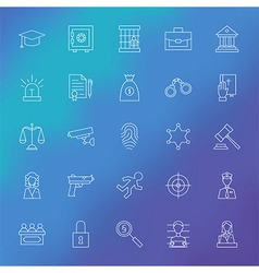Law and Crime Line Icons Set over Blurred vector