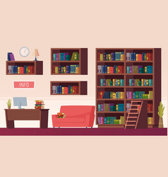 library interior book shelves info point with vector image