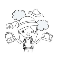 little tourist girl with set icons vector image