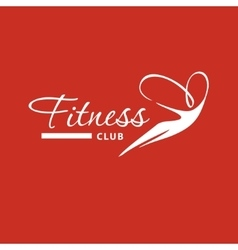 Logo silhouette of flying woman on air for fitness vector