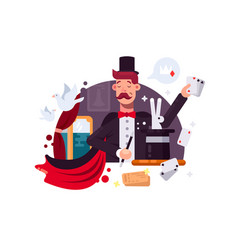 Magician in cylinder and cloak vector