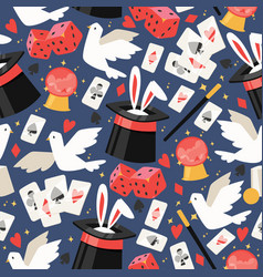 Magician seamless pattern show magic playing vector