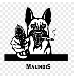 Malinois with guns - malinois gangster head of vector