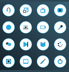 Media colorful icons set collection of learning vector
