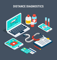 Medical diagnostics isometric set vector