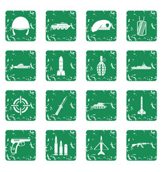 Military icons set grunge vector