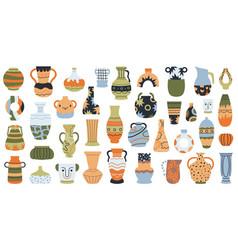 Modern pottery ceramic porcelain vases hand vector