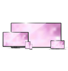 modern realistic tv laptop monitor tablet pc and vector image