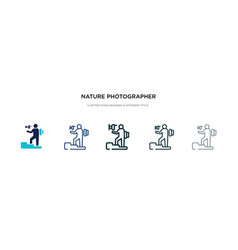 Nature photographer icon in different style two vector