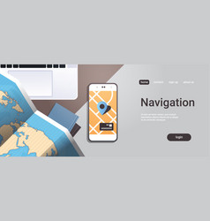 navigation online application paper world map with vector image