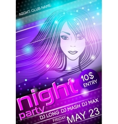 Night party sexy girl poster vector image