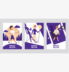 nordic walking supplies people leisure sport time vector image