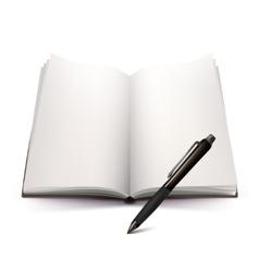 Open Notebook And Pen 3d Design vector image